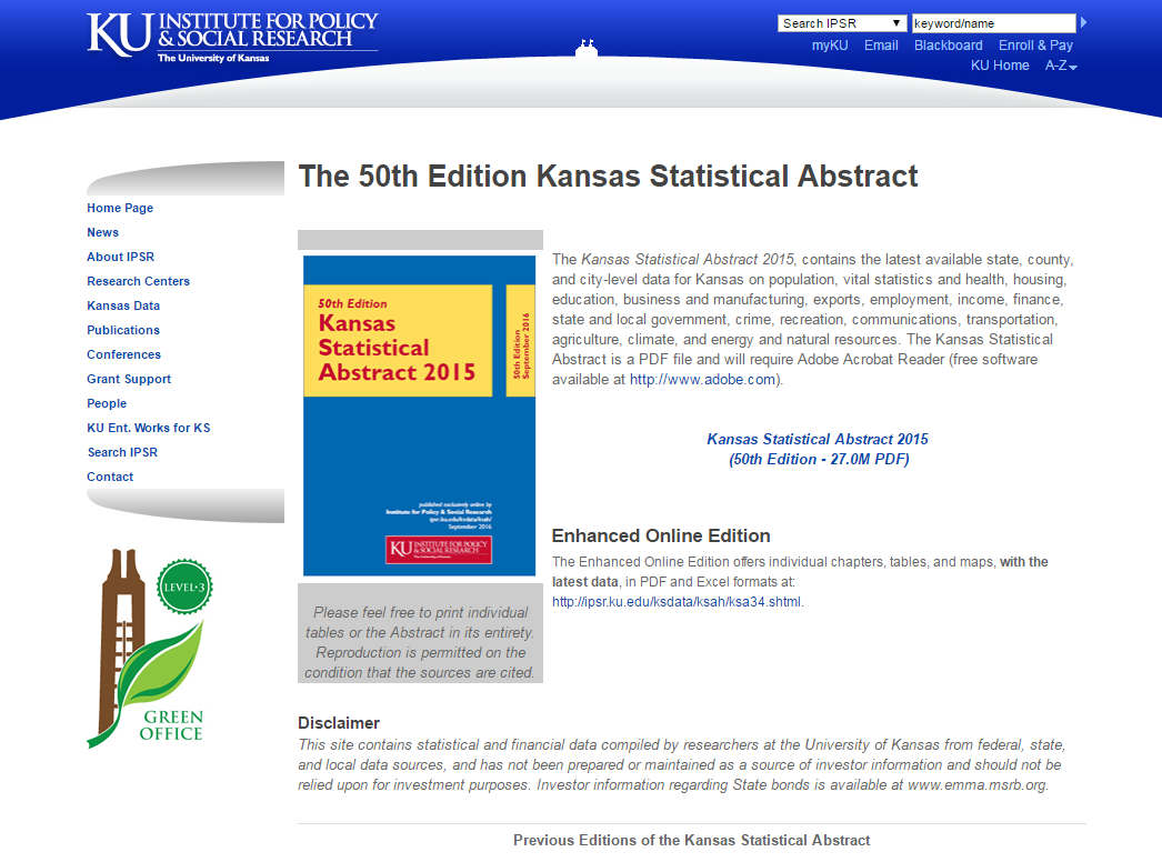 Image of home page for the Kansas Statistical Abstract