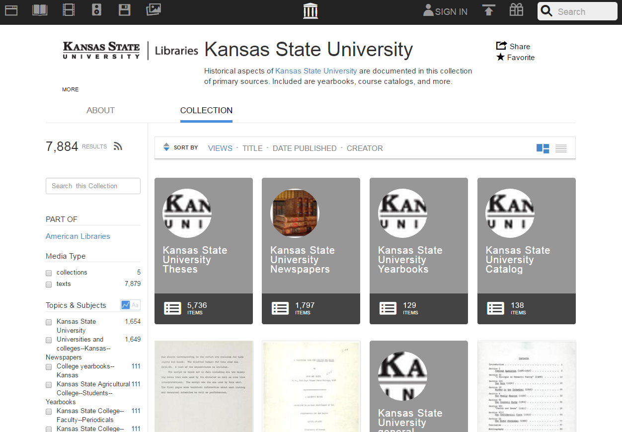 Image of home page for the KSU directory within internet archive