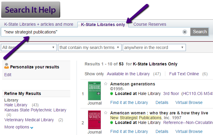 screenshot of search for new strategist publications