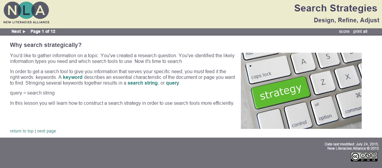 "Image of online module ""Search Strategies"" that is hyperlinked to the lesson"