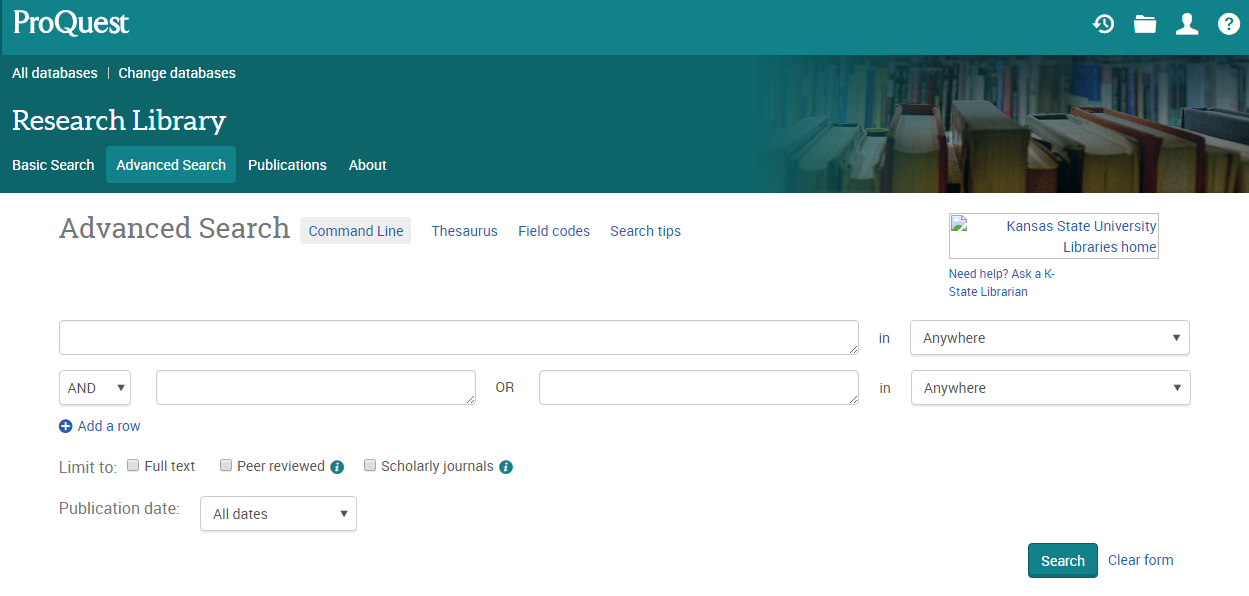 Image of Proquest Research Library home page; linked to the database