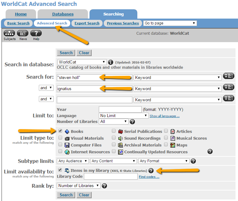 image of WorldCat database advanced search