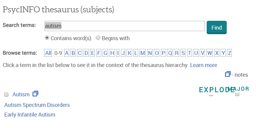 Screenshot of PsycInfo's thesaurus showing the results of a search for the word autism