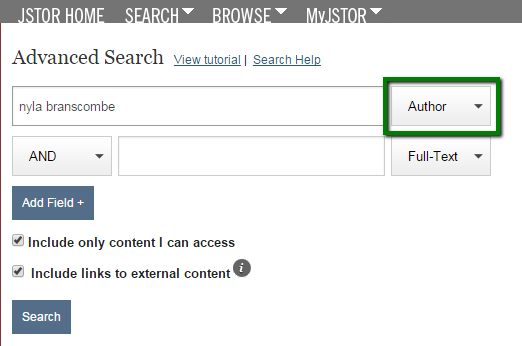 Screenshot of JSTOR's advanced search screen showing an author search for Nyla Branscombe