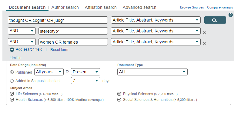 Screenshot of Scopus' advanced search interface