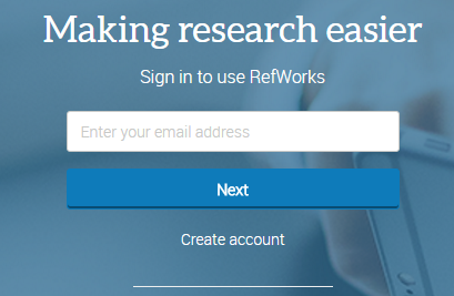 RefWorks 3 main page