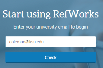 Sign-up page for RefWorks 3