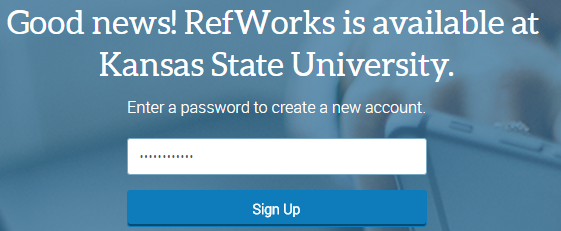 Create password screen for RefWorks 3
