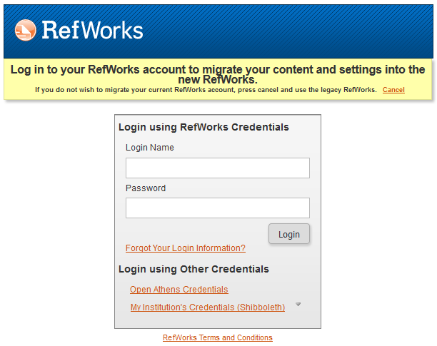 Login screen fro Refworks 2