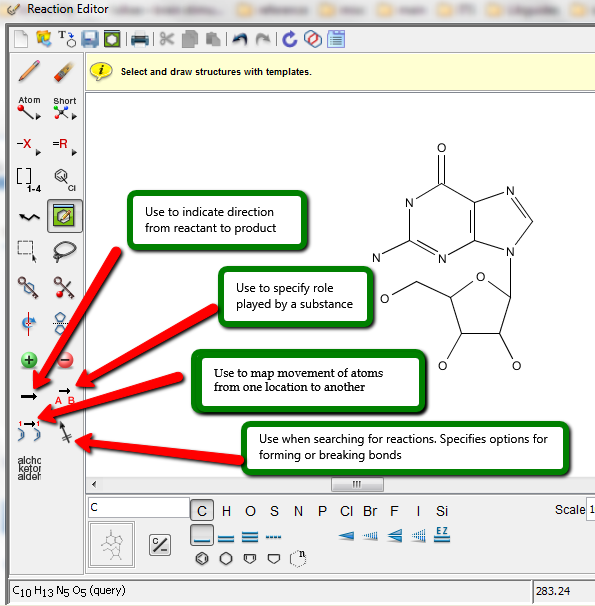 Screenshot of SciFinder Scholar's Reaction editor