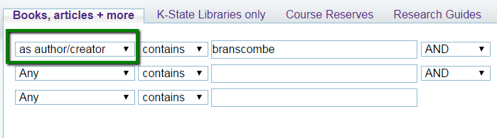 Screenshot of advanced search in Search It for branscombe as author