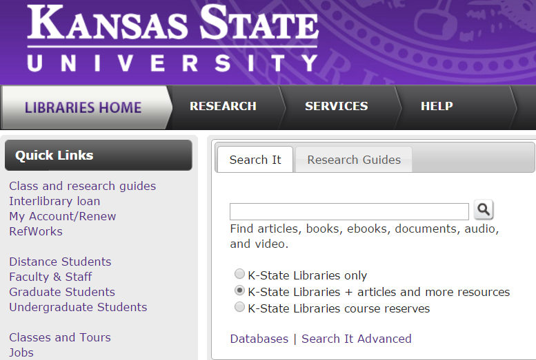 Screenshot of Libraries' home page showing location of Search It