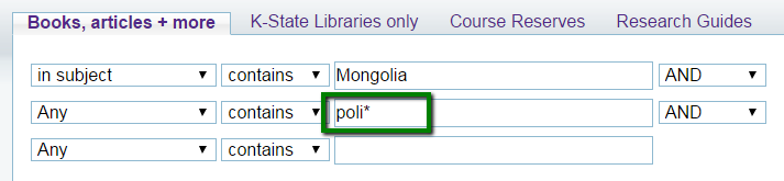 advanced search in Search It for Mongolia as a subject and poli* as a keyword