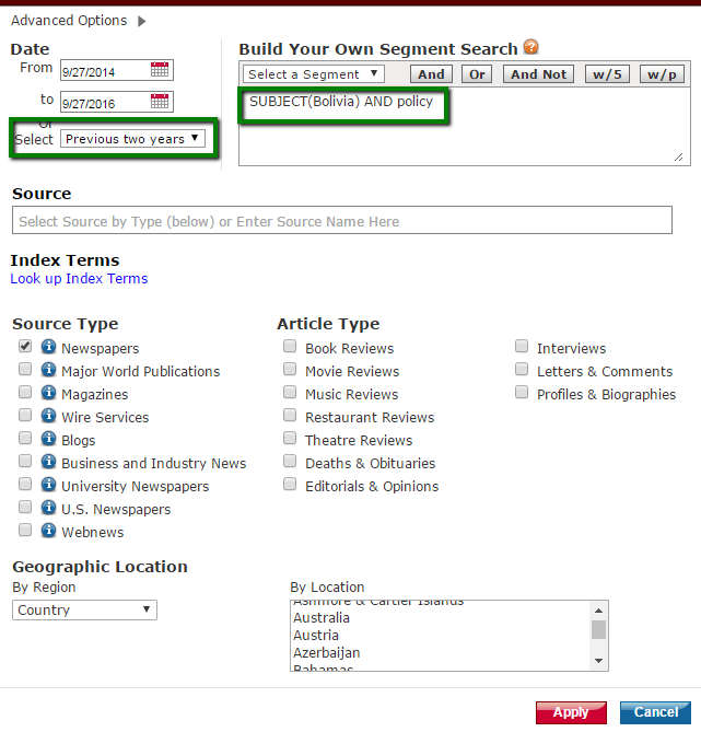 Advanced options screen in LexisNexis Academic