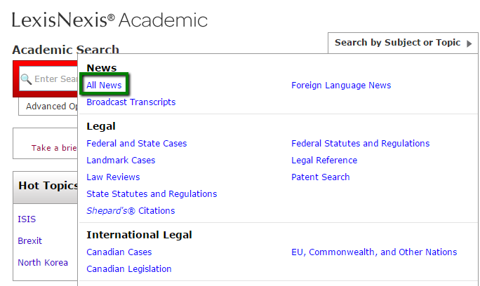 LexisNexis Academic homescreen showing location of select topic button