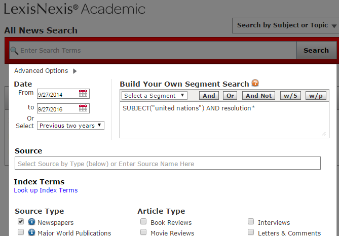 LexisNexis' Academic's advanced options screen
