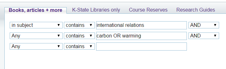 Search It advanced search for international relations as a subject and carbon or warming as keywords