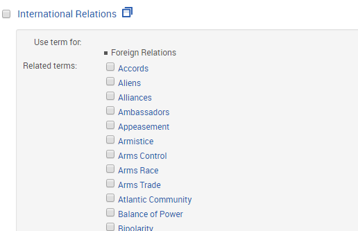 Thesaurus view in PAIS International showing related terms for International Relations