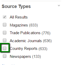 Source Types box in EBSCO's Business Source Premier