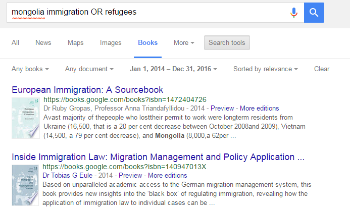 Google Books search for mongolia immigration OR refugees