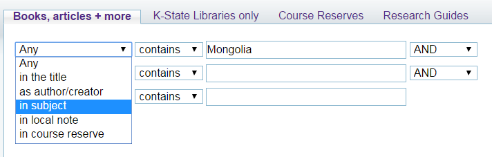 advanced search in Search It for Mongolia as a subject term