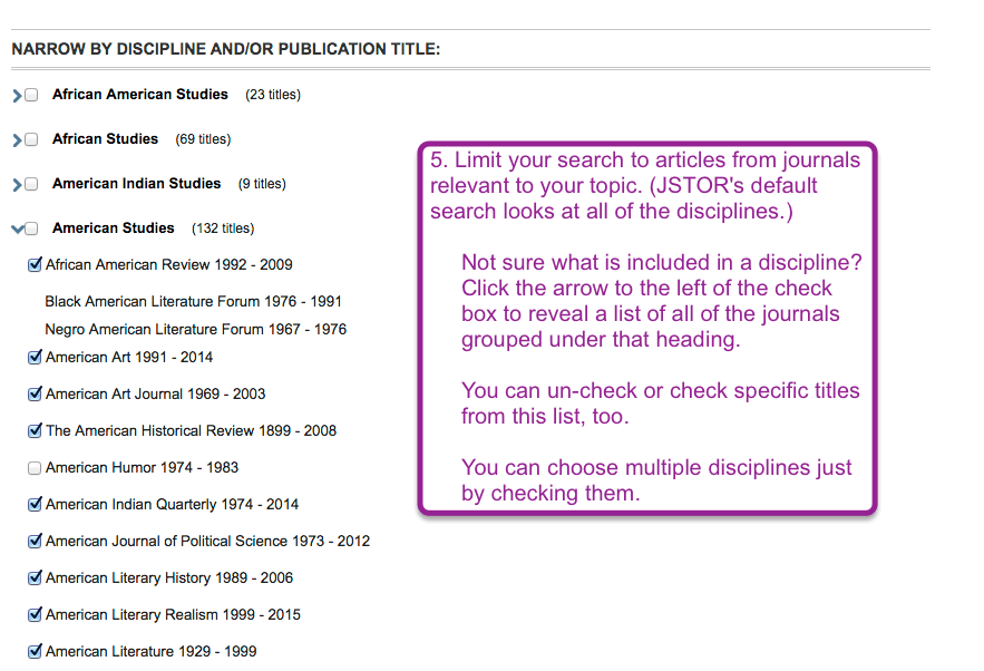 Screen shot of limiting options on JSTOR's Advanced Search page