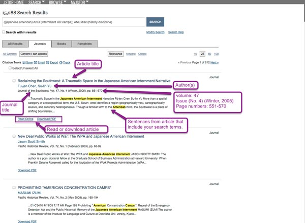 Screenshot of JSTOR search results page