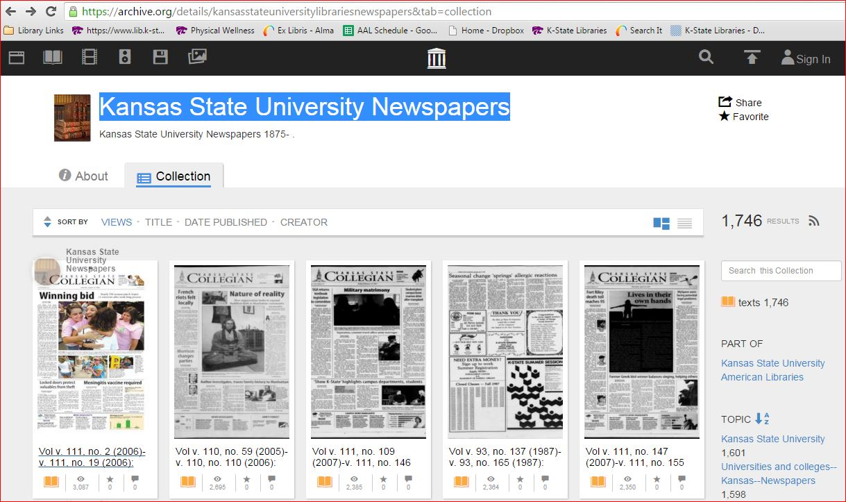 Image displays search results for Kansas State University Newspapers from the Internet Archive database