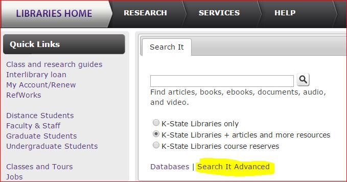 image of the Search It Advanced link