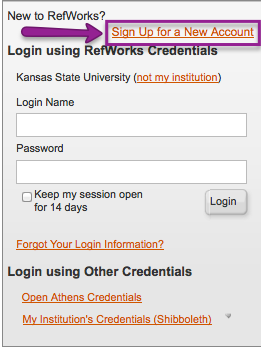 Login or Create a New Account for RefWorks