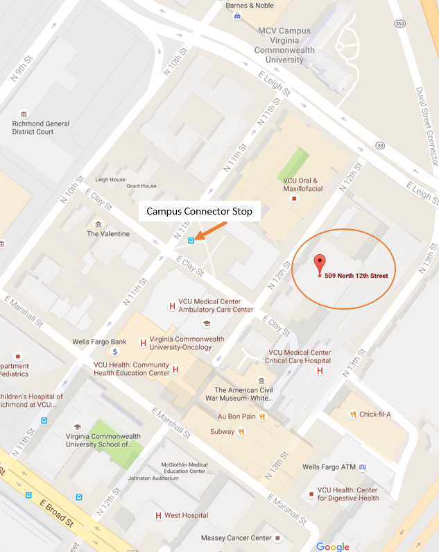 Map of VCU's MCV Campus showing library and bus stop