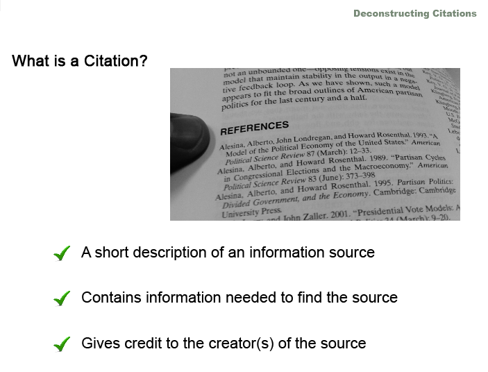Deconstructing Citations