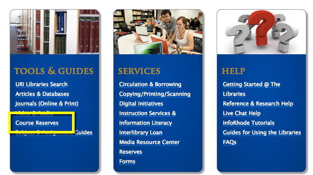 Library Home Page > Course Reserves