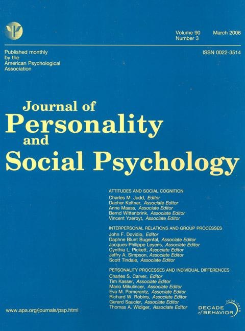 image of Journal of Personality and Social Psychology cover