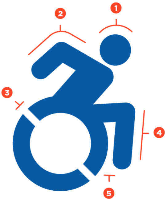 Icon showing an active person using a wheelchair