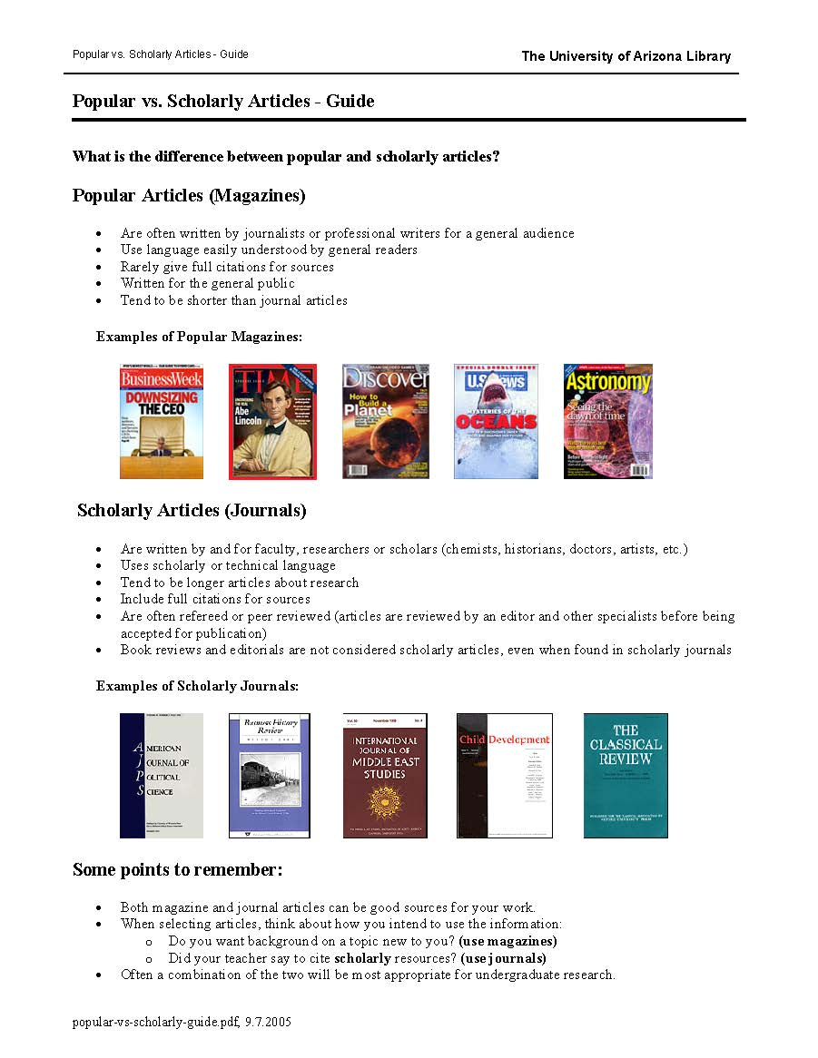 Popular & Scholarly Sources Handout Jstor Articles Database Book Reviews