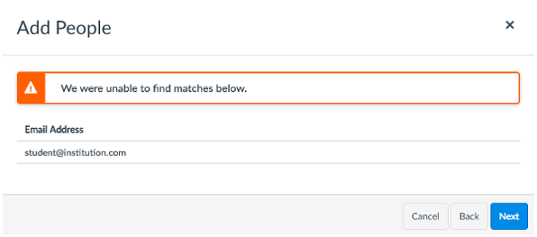 "The message that appears when you click on ""Click to add a name"" in an attempt to create a Canvas account: ""We were unable to find matches below."""