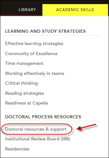 Screenshot of link to Doctoral resources & support.