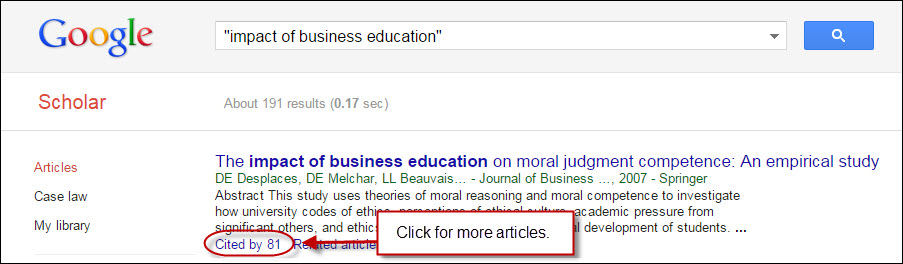 Google Scholar cited by feature.