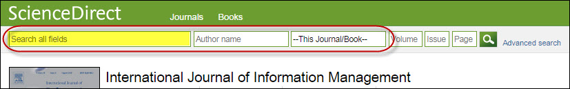 Search within Publication search bar in Science Direct