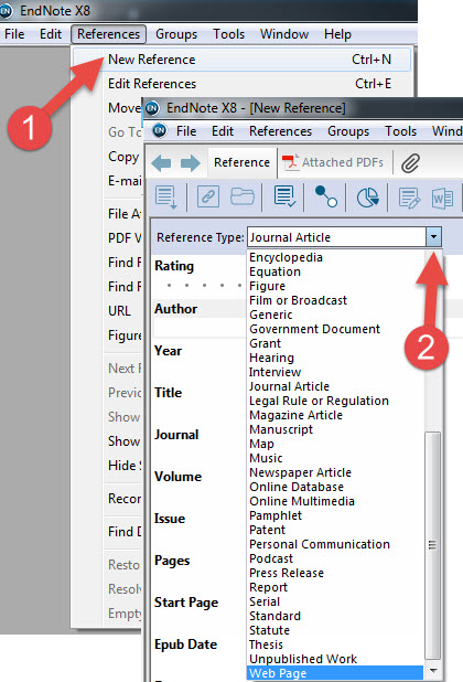 Build an endnote library endnote x8 research guides at ut md click here to view screenshot of steps 1 2 ccuart Image collections