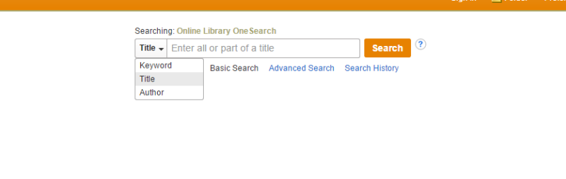 Screenshot of the Journal Finder main page, centered on the search box. On the left side of the search box there is a drop down menu with the options Keyword, Title, and Author. Title is selected. There is a search button to the right of the search box.