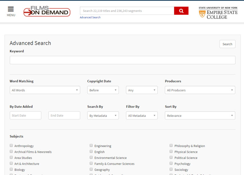 Screenshot of the Films On Demand Advanced Search window. There are multiple fields and other options: Keyword is a text field; Word Matching is a pull-down menu; Copyright Date is two pull-down menus, the first for before, in, and after and the second for the year; Producers is a pull-down menu, By Date Added is two text fields where you enter a start date and an end date; Search By is a pull-down menu; Filter By is a pull-down menu; and Sort By is a pull-down Menu. Subjects is a long list of check-boxes. Type is a list of check-boxes. Language is a list of check-boxes. Advanced Filters is a list of check-boxes. Then there is a Search button.