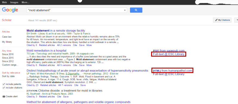 Screenshot of Google Scholar search results list. At the top is a header menu saying Web, Images, More. Below that is the Google Scholar search box and search button. On the left side of the page is a set of menus. Under Articles are Case Law and My Library. Under Any Time it says Since 2016, Since 2015, Since 2012, and Custom Range. There are Sort by Relevance and Sort by Date. There are check boxes for Include Patents and Include Citations. There is a link to Create alert. In the main part of the screen is the search results list. The title is a link to more information about that search result. Under that are the author, journal, publication year, and publisher. Under that is a section of the abstract. Under that are links to Cited By, Related Articles, Versions, Cite, Save, and More. To the right there are sometimes links to full-text. For example, PDF from sagepub.com, which is full-text on the web, or Full-text @ ESC Library, which is full-text from our subscriptions.