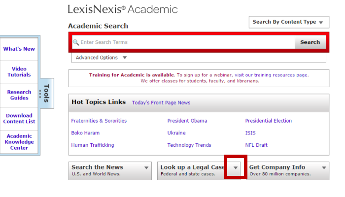 Screenshot of the LexisNexis Academic main search page. Down near the bottom is the Look Up A Legal Case button. Hit Tab 31 times to get to it.