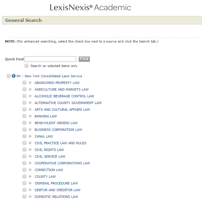 Screenshot of LexisNexis's browseable display of New York State Consolidated Laws. Tab 27 is the Quick Find Search Box. Tab 28 is the Find button, and will throw an error message if you tab to it without entering something in the Quick Search box for it to search. I don't even know. If you can get below that, there is an expandable directory of the sections of the New York statutes.