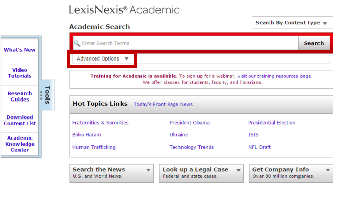 Screenshot of the LexisNexis Academic main search page. Advanced Options is located under the search box, and it is the eighteenth tab in.