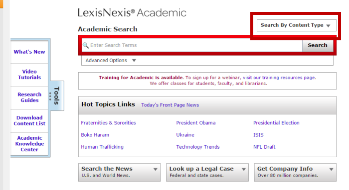 Screenshot of the LexisNexis main search page. In tab order, search By Content Type is the fifteenth tab.