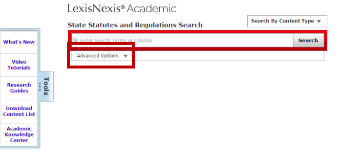 Screenshot of LexisNexis's State Statutes and Regulations Search. Advanced Options is ten tabs in.