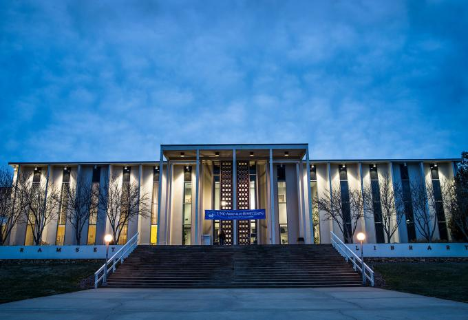 photo of front of the Ramsey Library at UNCA